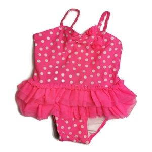 Old Navy Pink Polkadot Frilly Swimsuit 6-12m